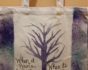 Hand painted quote tote