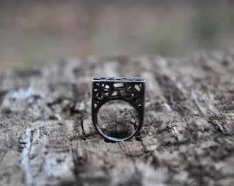 Black Ring, Tribal Statement Ring, Geometric Ring, Black Silver Ring, Gothic Ring, Chunky Ring, Unconventional Ring, Goth Ring, High Ring