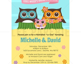 bsg001 luau baby shower invitation pink owl luau baby shower invite girl baby