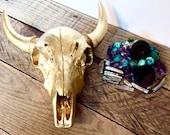 Gold Faux Cow Skull - Decorative Skulls - Bohemian Home Decor - Southwestern Decor - Gold Skull Decor - Faux Taxidermy - Boho Chic Wall Art