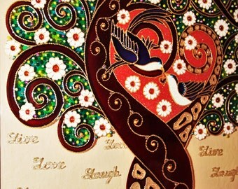 "Tree of love art 17""x21"" Love tree Glass painting Wall art"