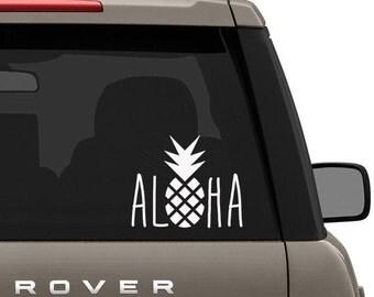 Aloha Pineapple  / Vinyl Sticker Decal  /  Laptop Decal- Car Decal- Computer Decal- Sticker