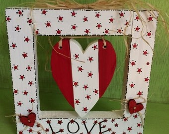 Framed Heart - Red and White
