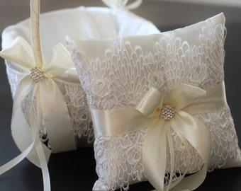Ivory Ring Bearer Pillow + Lace Flower Girl Basket \ Ivory Wedding Basket + Lace Wedding Pillow \ Pillow Basket Set \ Lace Wedding Accessory