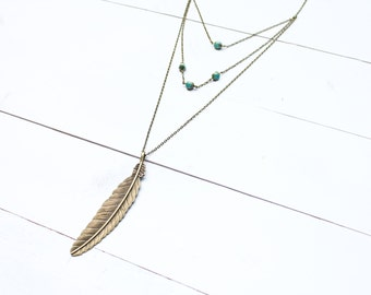 Freedom & Grace Feather Necklace // Three Tiered Necklace