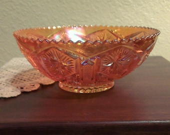 Vintage Imperial Glass Star and File Pressed Marigold Carnival Glass Bowl (1930s)