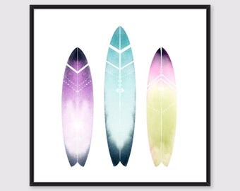 Surfboards with Tribal Pattern Print, Surfboard Wall Art, Colorful Surf Art of my original watercolor illustration