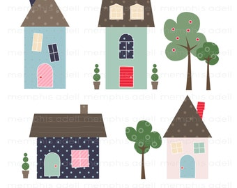 Little Houses Digital Image Clip Art For Scrapbooking Invitations And More