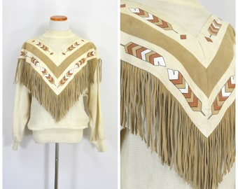 Vintage Navajo Sweater | Leather Suede Fringe Boho Sweater | Ivory Cream Knit Chevron Southwest Pullover | Cowgirl Western Sweater | Sm Med