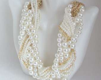 Braided Pearl Necklace, Twisted Pearl and Gold Chain Necklace, Multi Strand Pearl Statement Necklace, Ivory Bridal Wedding Necklace