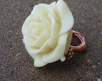 Ivory Rosebud Ring (Size 5)