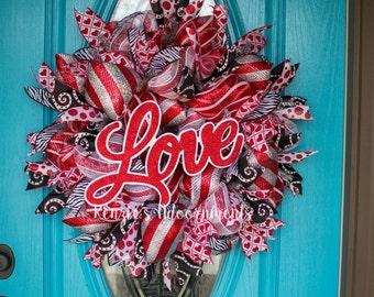 Deco Mesh Valentine Wreath, Valentine Wreath, Deco Mesh Wreath, Valentines Day Wreath, Red, Black and White Wreath, Love Wreath