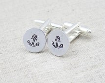 Anchor cuff links, anchor cufflinks, nautical gift, gift for him, hand stamped, nautical cufflinks, gift for sailor