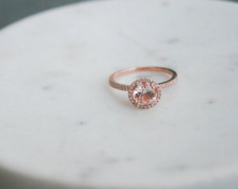 6.5mm Diamond Halo Rose Gold Morganite Engagement Ring, Rose Gold Morganite Ring, Diamond Halo around Morganite, Halo Engagement Ring