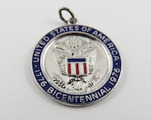 Enameled United States of America 1776-1976 Bicentennial Sterling Silver Pendant or Charm.