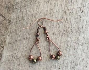 Antique Copper & Brass Earrings, Copper Earrings, Dangle Earrings, Rustic Modern Earrings, Free Shipping U.S.