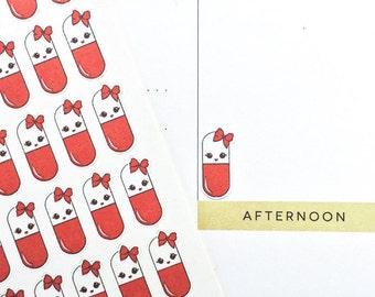 Kawaii Stickers, Medicine Stickers, Pill Stickers, Cute Planner Stickers, MAMBI Stickers, fit Erin Condren Life Planner, Bujo Stickers