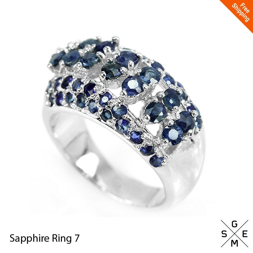 blue sapphire ring genuine natural sapphire womens ring 925. Black Bedroom Furniture Sets. Home Design Ideas