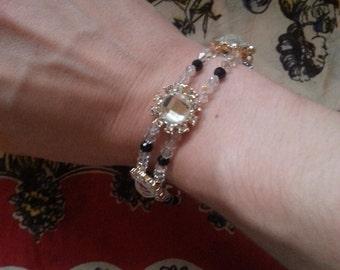 Black & Clear Swarovski Crystal Edwardian/Art Deco Starburst Bracelet