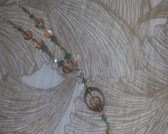 Green & Champagne Crystal Edwardian/Art Deco Necklace
