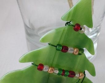 Fused Glass XMas Tree Ornament