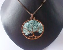 Tree of fortune Tree of life Wire pendant Copper pendant Gift for her Wire wrap Mascot Gift for women Family tree Talisman necklace Of stone