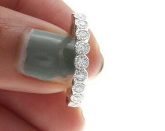 Diamond Vintage Wedding Band, Art Deco Diamond Wedding Ring, Diamond Milgrain Wedding Band. Womens Diamond Wedding Band in 14k White gold