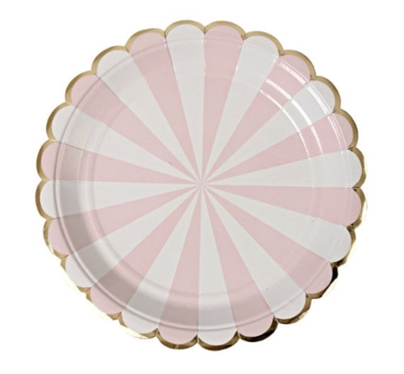 pink stripe paper plates meri meri pink and white gold. Black Bedroom Furniture Sets. Home Design Ideas