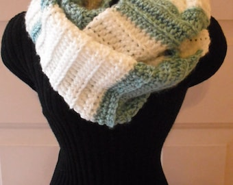 Cream/Green Striped Cowl, Women's Scarf, Infinity, Winter Scarf, Crocheted Scarf, Fashion Scarf