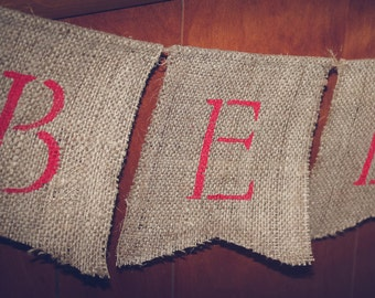 BELIEVE ~ Burlap Banner/Garland ~ CHRISTMAS  Holiday Decoration Photo Prop