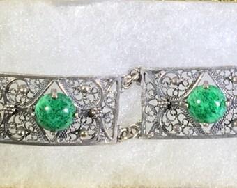 Beautiful Vintage Silver Filigree Panel Link Bracelet with Lovely Dark Green Stones, Intricate Details, Unique Design