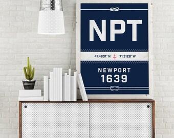 Newport Print - Rhode Island Recycled Sail Style Poster, Nautical Nursery, Beach Décor, Beach House Art, Sailboat, Vacation Gift