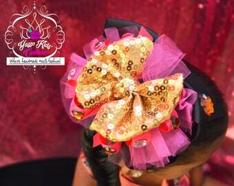 Couture OTT Bow, OTT Hair Bow, Sequin Hair Bow, Boutique Hairbow, Hair Accessories , OTT Hair Bows, Boutique Hairbows