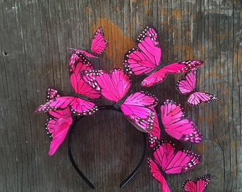 Mexican Pink Monarch Butterfly Crown Fascinator Headpiece Surreal Hand Painted
