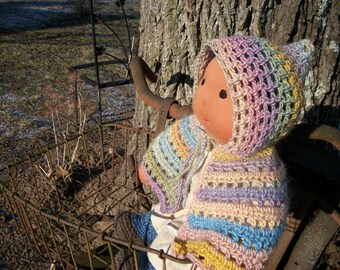 """WOOL HOODED CAPE for 15"""" Waldorf Doll"""