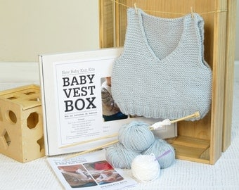 Baby Vest Beginner Knitting Kit. Includes learn to knit instructions & pure merino yarn / Easy knit kit / Baby shower gift / Baby tank top