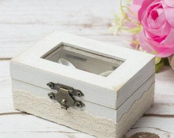Glass Ring Box Wedding Ring Bearer Glass Ring Pillow Holder White Moss Rustic chic Ring Box Glass Ring Box Rustic wedding Box Keepsake Moss