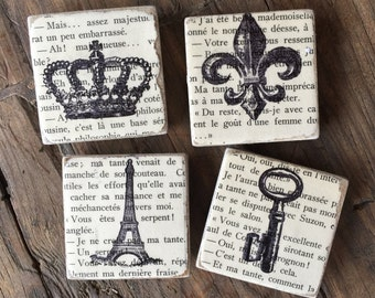 Vintage French Tile Magnets