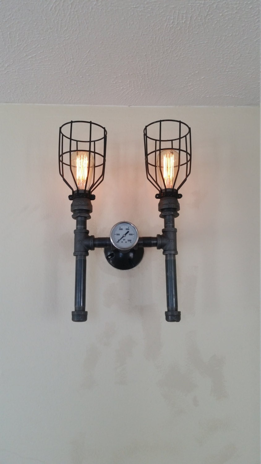 Industrial Style Double Wall Lights : Double Bathroom light Industrial Sconce Wall Light