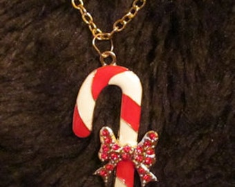 Candy Cane Charm with Gold Plated Chain