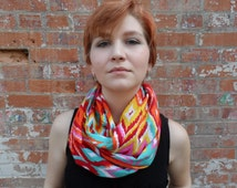 Bright abstract colorful Spring scarf, abstract women's spring scarf, summer scarf, abstract bright and fun infinity scarf