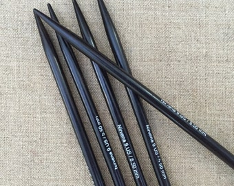 """Ebony Needles 6"""" Double Pointed Nirvana Ebony Needles Wood Double Point Needles (5 PC Set) Sizes 1,1.5,2,3,4,5,6,7,8,9,10,11,13,15"""