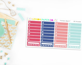 Littles and Habit Trackers // Vintage Beauty (Planner Stickers for Erin Condren Vertical and MAMBI The Happy Planner)