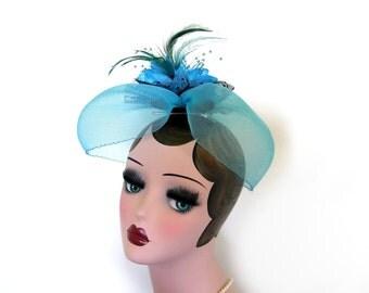 Sale! ~Vintage Floral Hat/ Head Piece ~ Tuorqouise