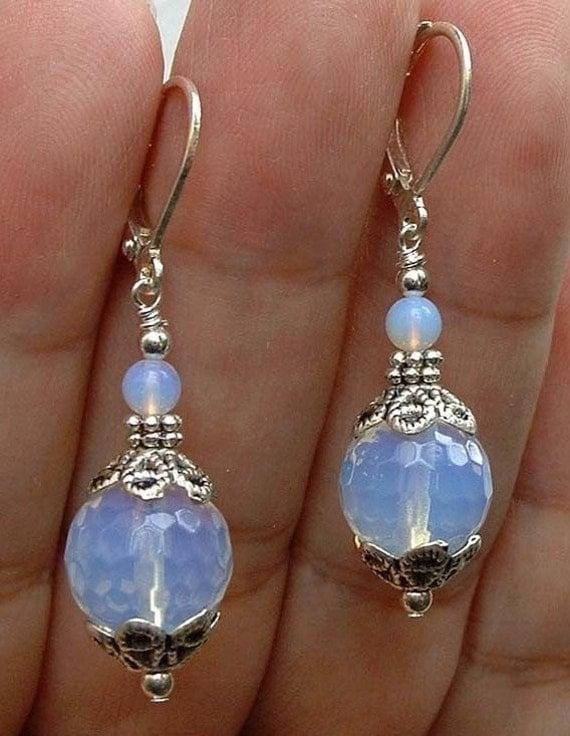 Lovely handmade silver moonstone glass earrings