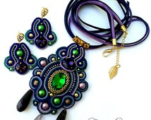Soutache pendant with amethysts, Soutache set, dark blue, green, violet color. Long band. For wearing under the collar. Long cord.