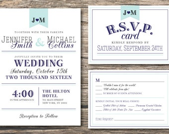 Wedding Invitation Set, Country Chic Invitation, Printable Invitation + RSVP Card