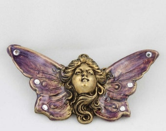 Hand Enameled Fairy Face with Crystal Stones