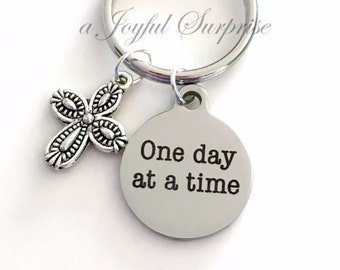 One Day at a Time Keychain, Gift for Sponsor Present AA Keychain Alcoholics Anonymous Key Chain Recovering NA Addicts Keyring silver cross