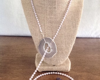 Lavender Geode Pendent, Faceted Glass Bead & Crystal Lariat Statement Necklace